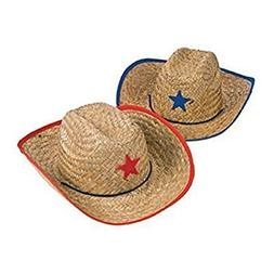Fun Express Childs Straw Cowboy Hat with Plastic Star - 12 P