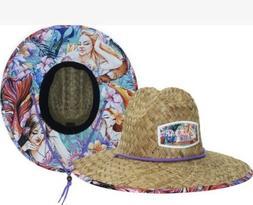 Straw Sun Hat for Women With Fabric Under Brim. Mermaid Sun