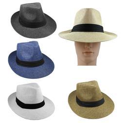 Gelante Summer Wide Brim Fedora Panama Straw Hats With Black