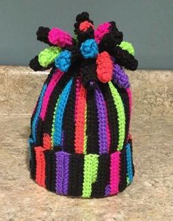 Toddler Young Childs rainbow winter hat custom made handmade
