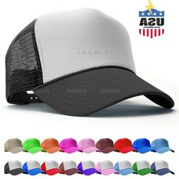 Trucker Hat Foam Mesh Baseball Cap Adjustable Snapback Solid