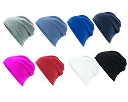 Unisex Mens Womens Plain Jersey Beanie Hat