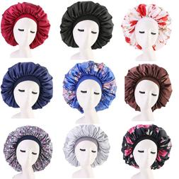 US Extra Large Long Hair Care Satin Bonnet Cap Night Sleep H