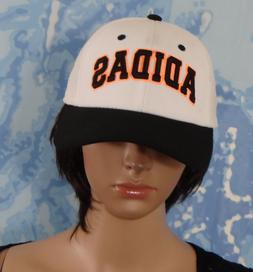 adidas white with black visor orange/black logo Snapback Hat