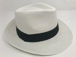 Women Men Straw Hat Trilby Cuban Cap Summer Beach Sun Panama