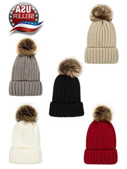 Women's Beanie Ski Hat Cable Knitted With Pom Pom Winter Acc