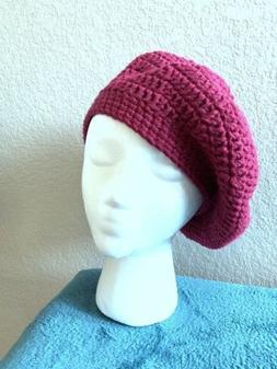 Women's Handmade Crocheted Raspberry Beret Hat, Tribute to P