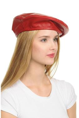 Women's Faux Leather Beret Solid Plain Flat Top PU American