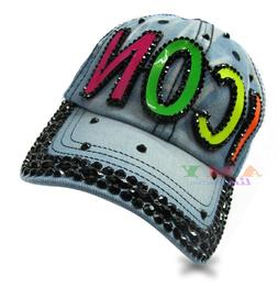 Women's Solid Neon Bling Baseball Caps 100% Cotton Icon Deni