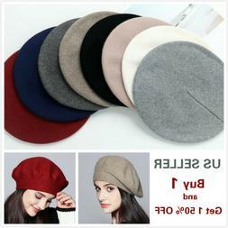 Women Vintage French Style Beret Hat Soft Wool Warm Cap Bean