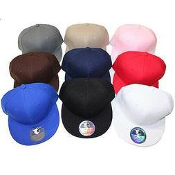Youth Kids Flat Bill Snap back Hat Baseball Cap - 32 Colors